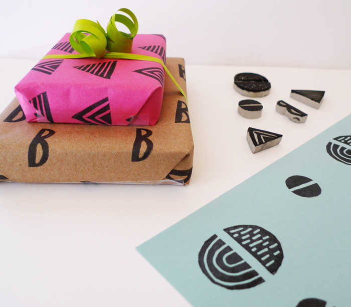 Cotton & Flax - DIY stamped gift wrap