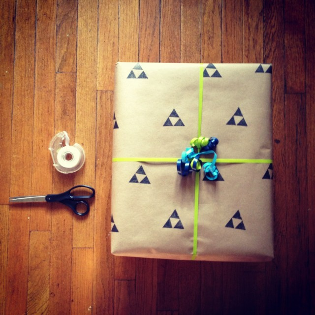 Cotton and Flax - hand stamped gift wrap