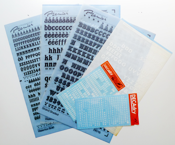 Letraset sheets - Cotton & Flax