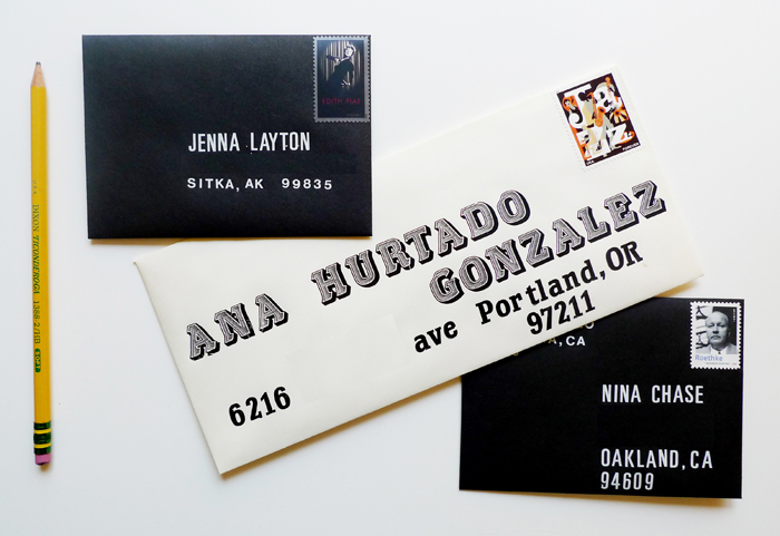 Letraset envelopes - DIY Typographic Snail Mail