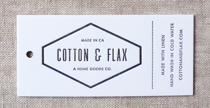 Cotton & Flax letterpressed product hang tags