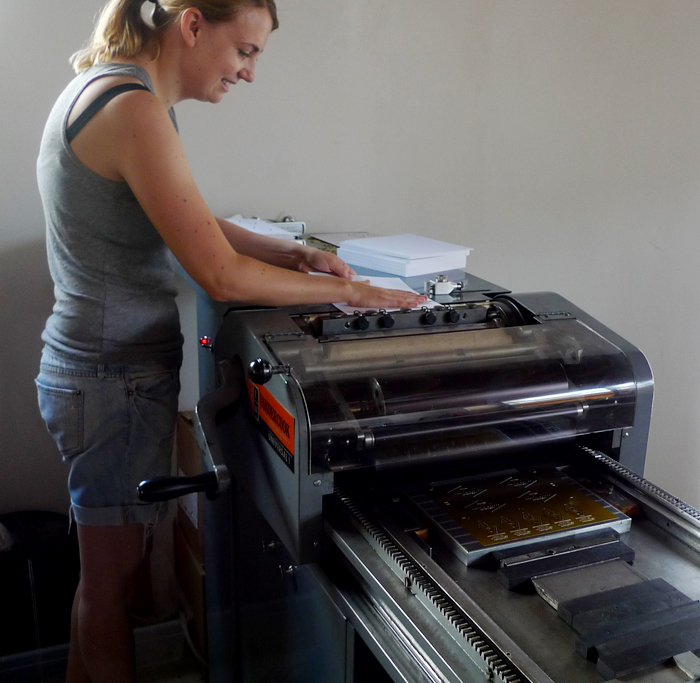 Cotton & Flax - Laura printing on the Vandercook