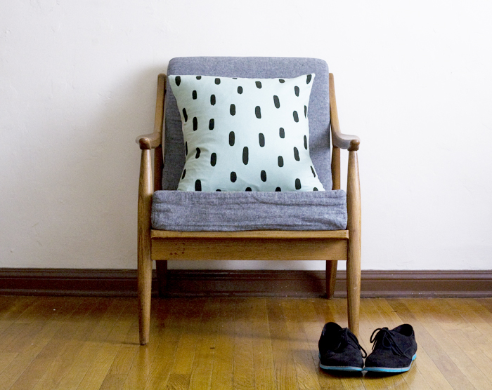 mint brushstroke pillow from Cotton & Flax