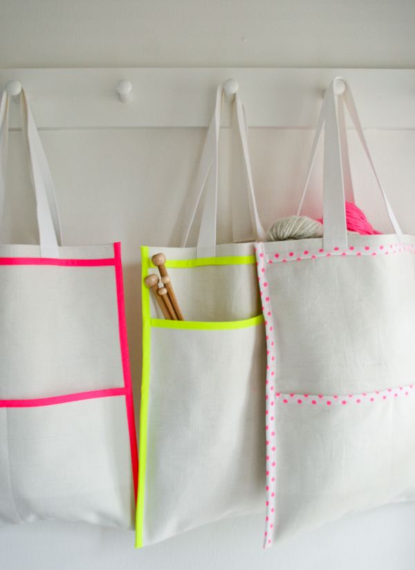 Purl Bee neon-inside-out-bags