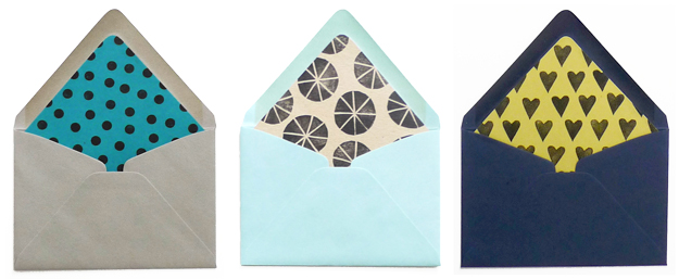 three patterned envelopes