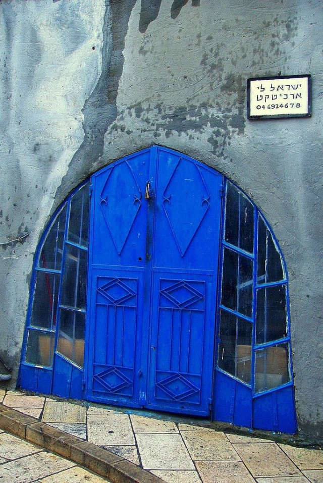 Blue geometric door