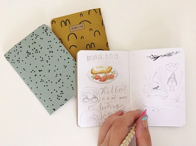 Emma Trithart draws in Cotton & Flax Notebooks