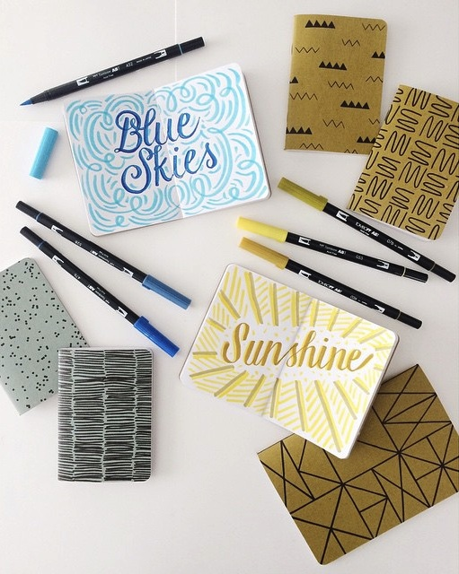 Blue Skies + Sunshine - Cotton & Flax Notebooks