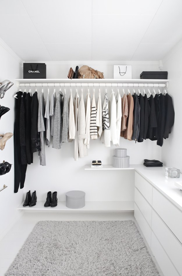 Beautifully minimalist closet - Konmari Method