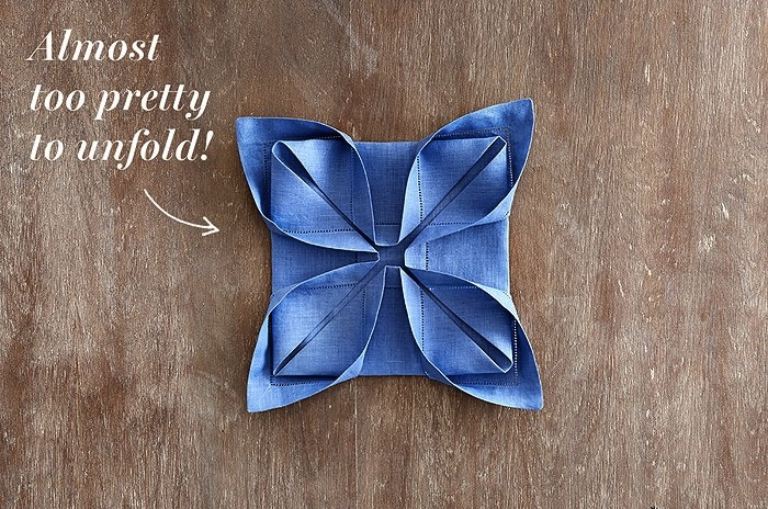 Napkin folding for casual dinner parties blog cotton flax lotus fold napkin mightylinksfo