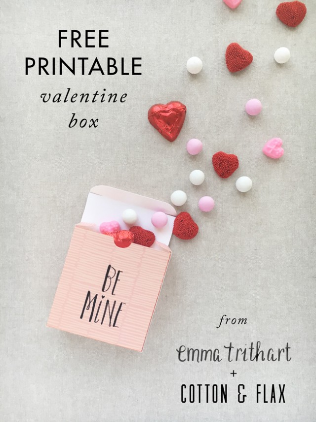 Free valentine box printable from Cotton & Flax