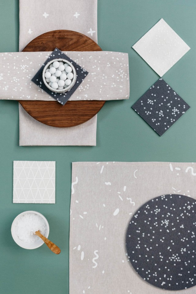 Patterned tabletop goods from Cotton & Flax