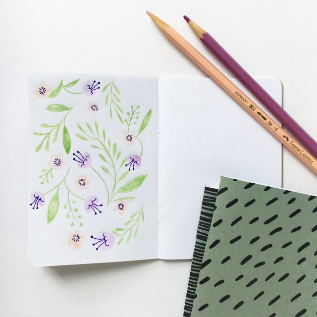 Spring floral doodle in a Cotton & Flax notebook