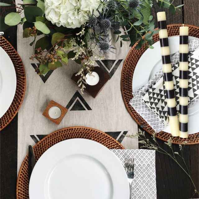 DIY Block printed table runner