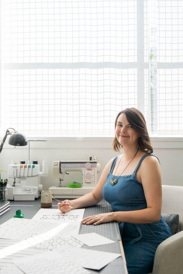 Erin Dollar in the Cotton & Flax studio