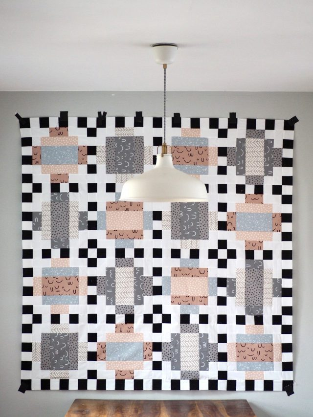 Modern Quilt made with Arroyo Fabric from Robert Kaufman