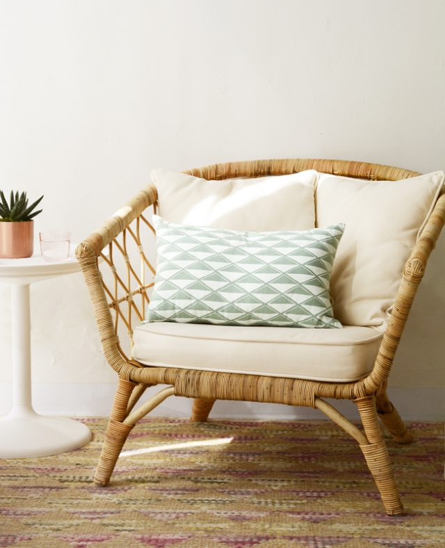 Seafoam diamond pillow - Cotton & Flax