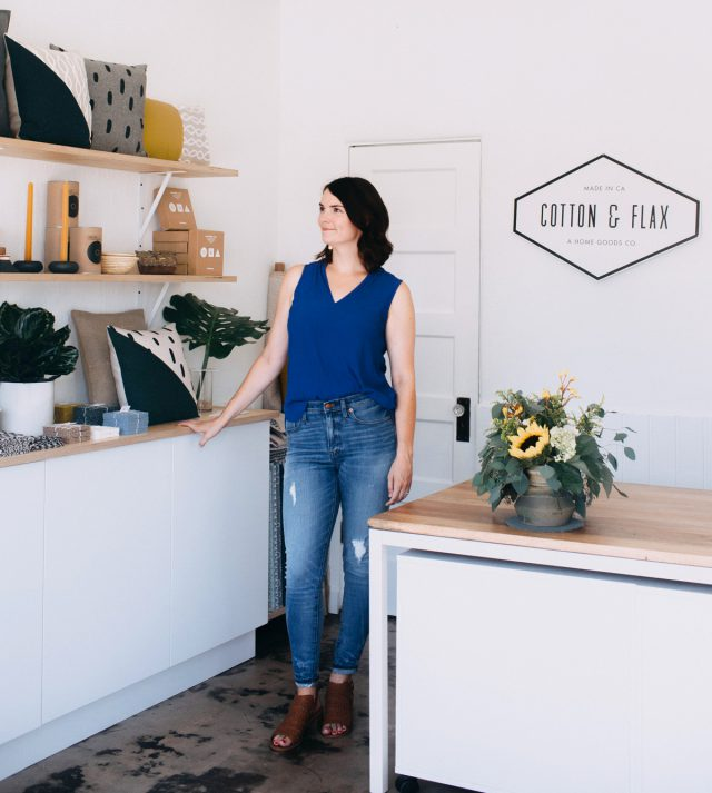 Cotton and Flax - owner Erin Dollar in her new shop