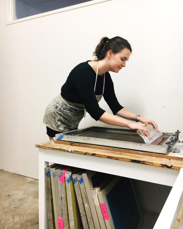 Erin Dollar screenprinting
