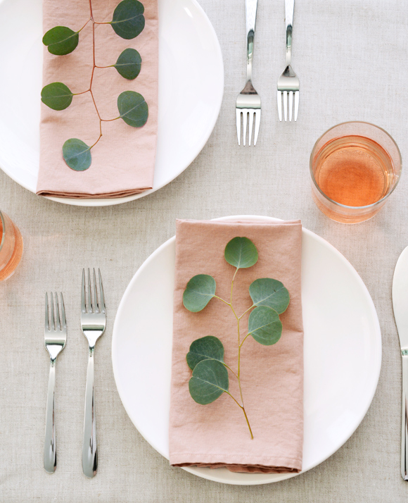 Blush linen napkins from Cotton & Flax