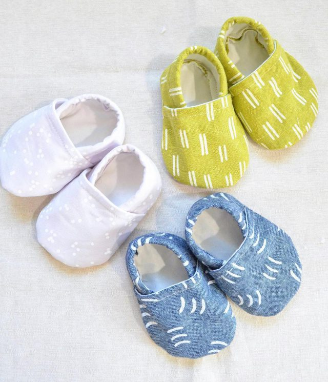 Baby booties made with Balboa fabric